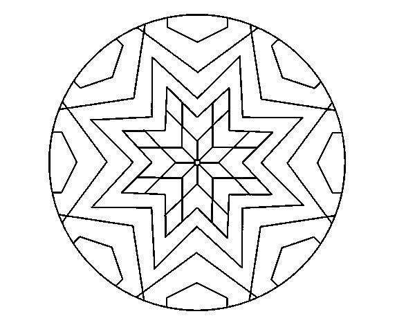 Coloriage de Mandala mosaïque étoile pour Colorier