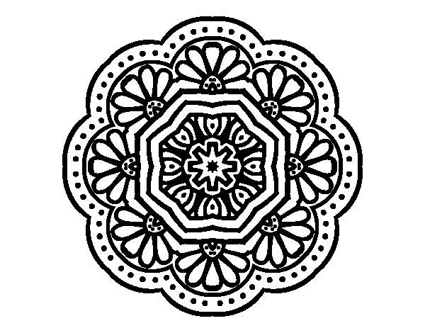 Coloriage de Mandala mosaïque moderniste pour Colorier