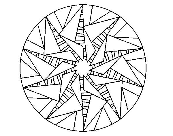 Coloriage de Mandala soleil triangulaire pour Colorier