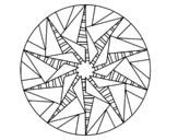 <span class='hidden-xs'>Coloriage de </span>Mandala soleil triangulaire à colorier