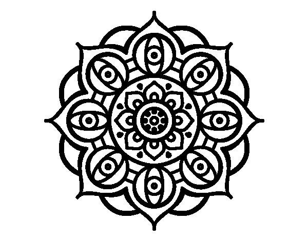 Coloriage de Mandala yeux ouvert pour Colorier
