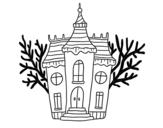 <span class='hidden-xs'>Coloriage de </span>Manoir d'Halloween hanté à colorier
