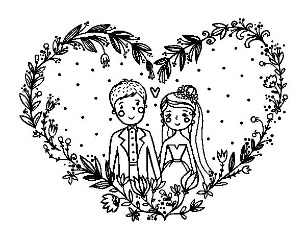 Coloriage de mariage coeur pour colorier - Image de coeur a colorier ...