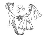 <span class='hidden-xs'>Coloriage de </span>Marié et dans l'amour à colorier