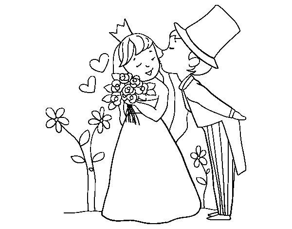 Coloriage de mari s princes pour colorier - Coloriage maries ...