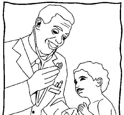Coloriage de Médecin avec le stétoscope pour Colorier