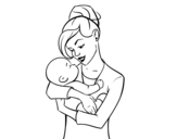 <span class='hidden-xs'>Coloriage de </span>Mère bascule con bébé à colorier