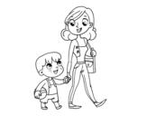 Dibujo de Mère qui marche avec un enfant