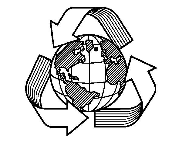 Coloriage de Monde de recyclage pour Colorier