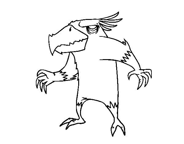Coloriage de Monstre oiseau pour Colorier