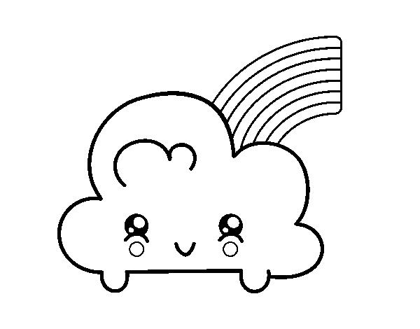 Coloriage de nuage avec arc en ciel kawaii pour colorier - Coloriage ciel ...
