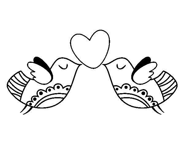 Coloriage de Oiseaux avec coeur pour Colorier