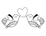 <span class='hidden-xs'>Coloriage de </span>Oiseaux avec coeur à colorier