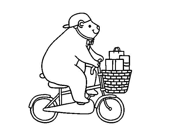 Coloriage de Ours cycliste pour Colorier