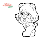 <span class='hidden-xs'>Coloriage de </span>Ourse Kawaii à colorier