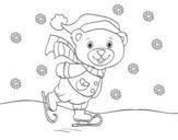 <span class='hidden-xs'>Coloriage de </span>Ourson patinage de Noël à colorier