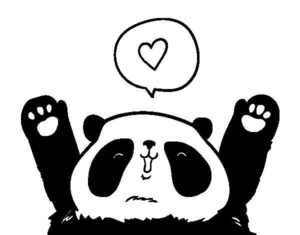 Coloriage de Panda amoreux pour Colorier