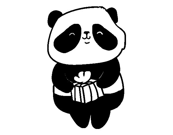 Coloriage de Panda avec un cadeau pour Colorier
