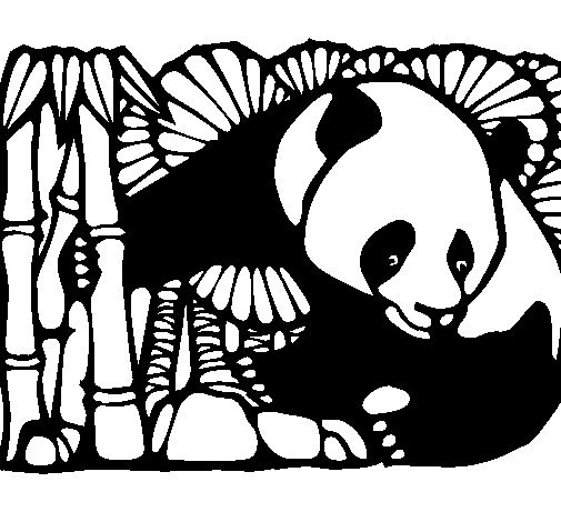 Coloriage de panda et bambou pour colorier - Coloriage panda des reves ...