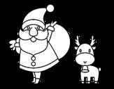 <span class='hidden-xs'>Coloriage de </span>Papa Noël et un renne à colorier