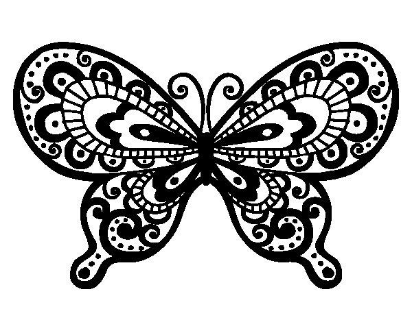 Coloriage de Papillon joli pour Colorier