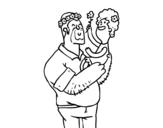 Dibujo de Père et la fille avec des fleurs