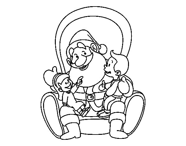 Coloriage de Père Noël avec enfants pour Colorier