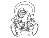 <span class='hidden-xs'>Coloriage de </span>Père Noël avec enfants à colorier