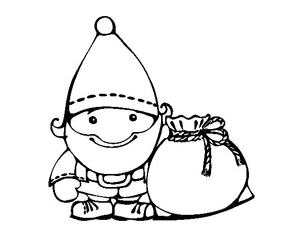 Coloriage de Père Noël avec son sac pour Colorier