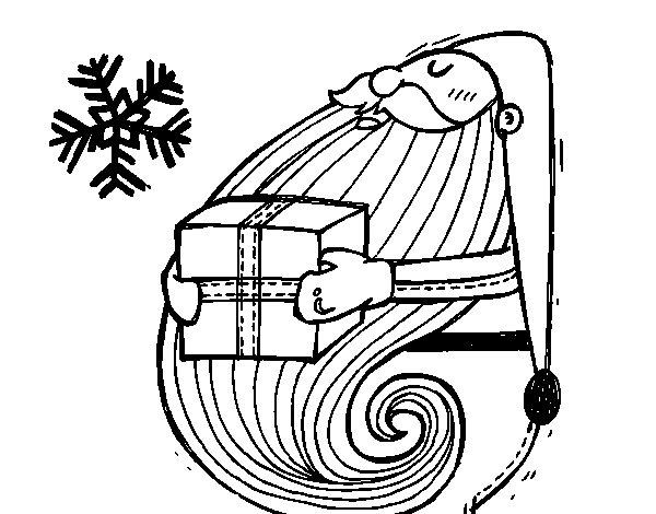 Coloriage de Père Noël avec un cadeau pour Colorier