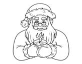 Dibujo de Père Noël avec une tasse de café