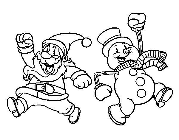 Coloriage de Père Noël et bonhomme de neige saut pour Colorier
