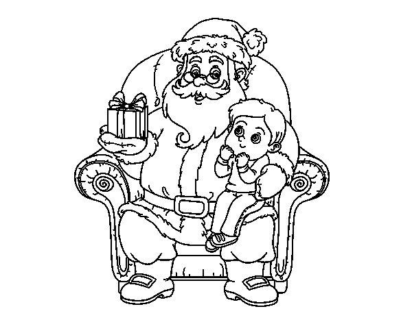 Coloriage de Père Noël et enfant de Noël pour Colorier