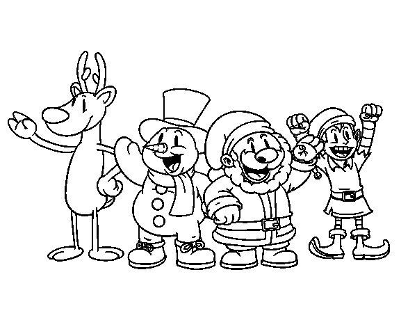 Coloriage de Père Noël et ses amis pour Colorier