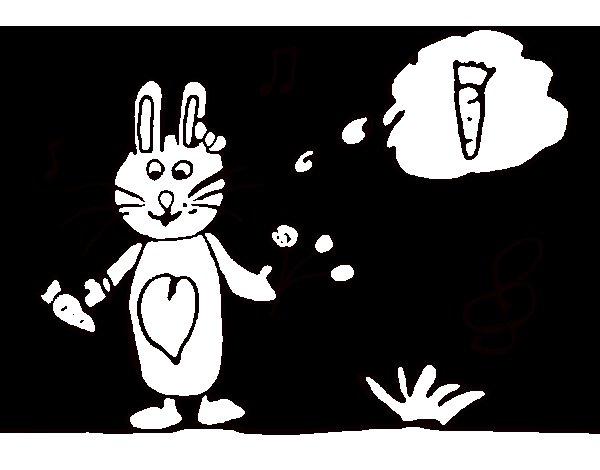 Coloriage de Petit lapin avec carotte pour Colorier