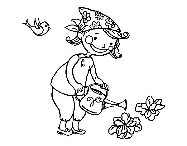 Coloriage de petite fille arrosage pour colorier for Jardin dibujo