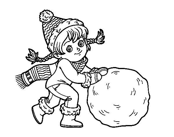 Coloriage de Petite fille avec grosse boule de neige pour Colorier