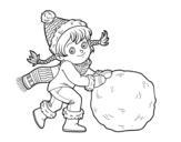 <span class='hidden-xs'>Coloriage de </span>Petite fille avec grosse boule de neige à colorier