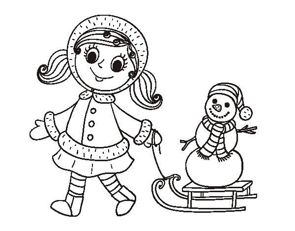Coloriage de  Petite fille avec traîneau et bonhomme de neige pour Colorier