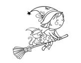 <span class='hidden-xs'>Coloriage de </span>Petite sorcière qui vole avec son balai à colorier