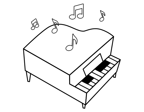Coloriage de piano queue pour colorier - Coloriage piano ...