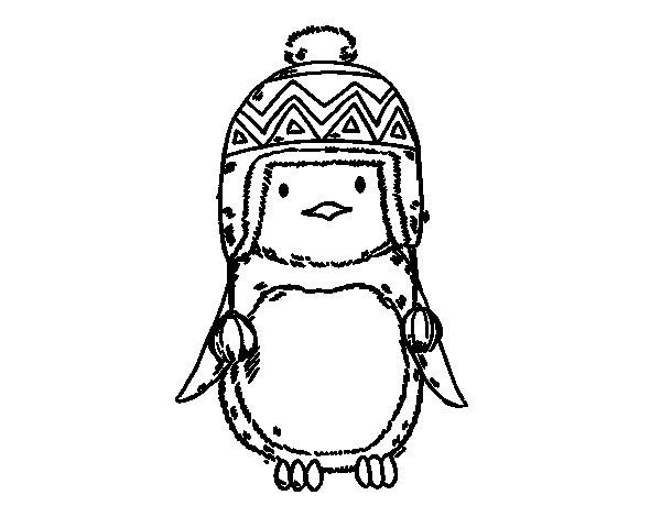 Coloriage de Pingouin bébé avec chapeau pour Colorier