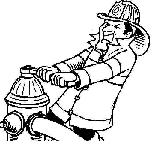 Coloriage de Pompier 4 pour Colorier