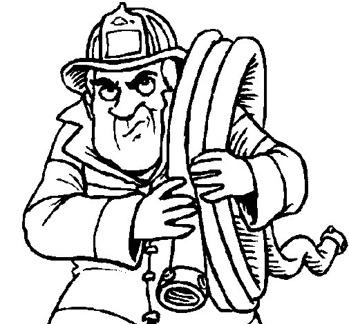 Coloriage de Pompier 6 pour Colorier
