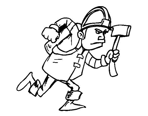 Coloriage de Pompier avec hache pour Colorier