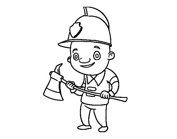 Coloriage de Pompier professionnel pour Colorier