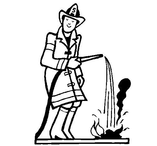 Coloriage de Pompier qui éteint le feu pour Colorier