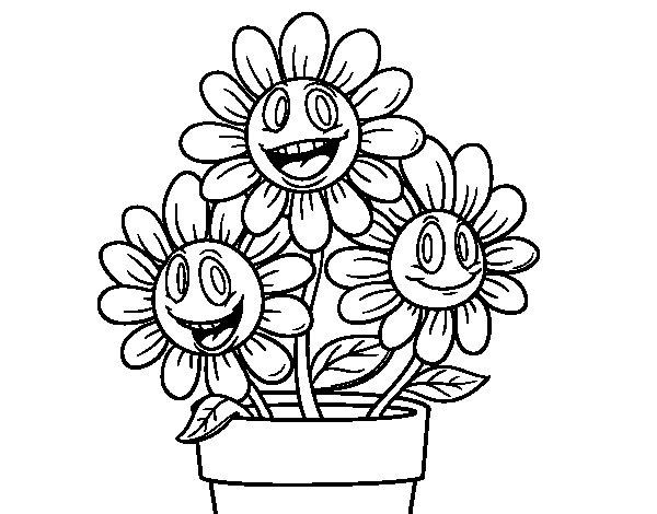 Coloriage de Pot de fleurs pour Colorier