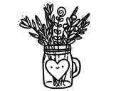 Dibujo de Pot de fleurs sauvages et un cœur