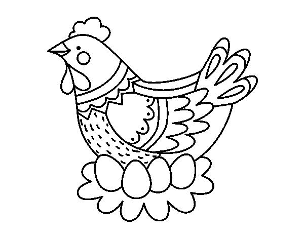 Coloriage de poule avec oeufs de p ques pour colorier - Coloriage de poule ...